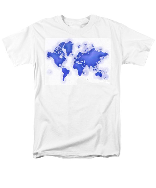 World Map Zona In Blue And White Men's T-Shirt  (Regular Fit) by Eleven Corners