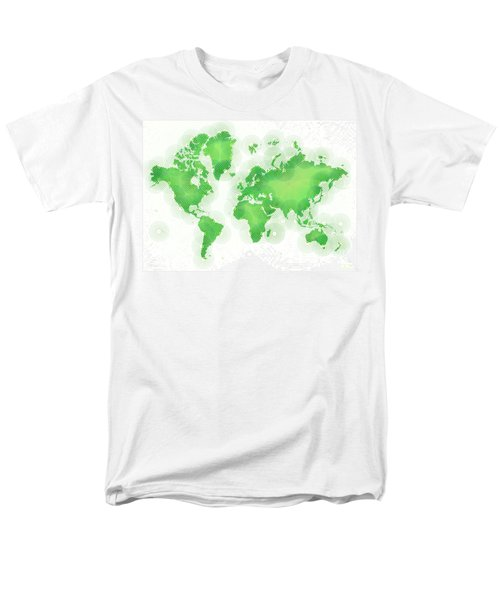 World Map Zona In Green And White Men's T-Shirt  (Regular Fit) by Eleven Corners