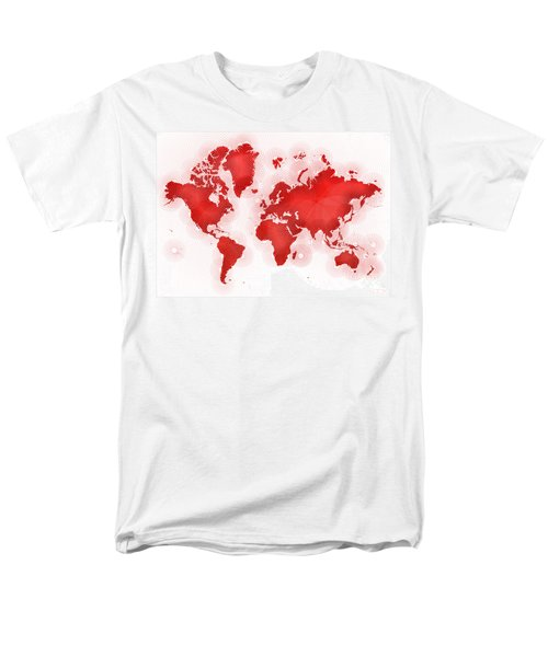World Map Zona In Red And White Men's T-Shirt  (Regular Fit) by Eleven Corners