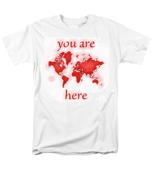 World Map Zona You Are Here In Red And White Men's T-Shirt  (Regular Fit) by Eleven Corners