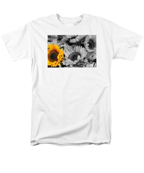 Yellow Sunflower On Black And White Men's T-Shirt  (Regular Fit) by Dora Sofia Caputo Photographic Art and Design