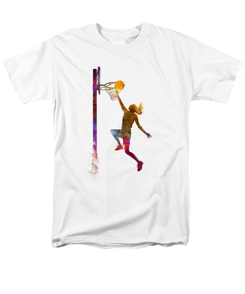 Young Woman Basketball Player 04 In Watercolor Men's T-Shirt  (Regular Fit) by Pablo Romero
