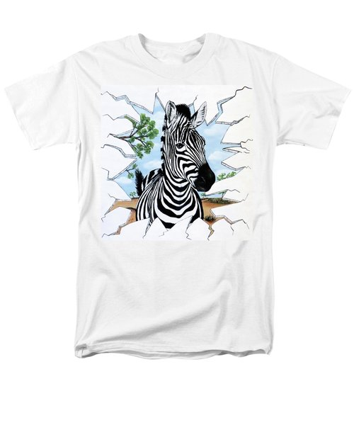 Men's T-Shirt  (Regular Fit) featuring the painting Zany Zebra by Teresa Wing