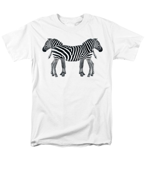 Men's T-Shirt  (Regular Fit) featuring the photograph Zebra Pair On Black by Gill Billington
