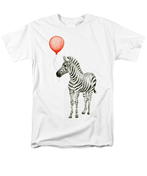 Zebra With Red Balloon Whimsical Baby Animals Men's T-Shirt  (Regular Fit) by Olga Shvartsur