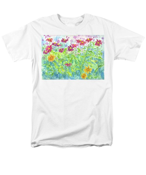 Men's T-Shirt  (Regular Fit) featuring the painting Zinnias  by Cathie Richardson