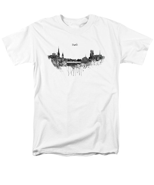 Zurich Black And White Skyline Men's T-Shirt  (Regular Fit) by Marian Voicu