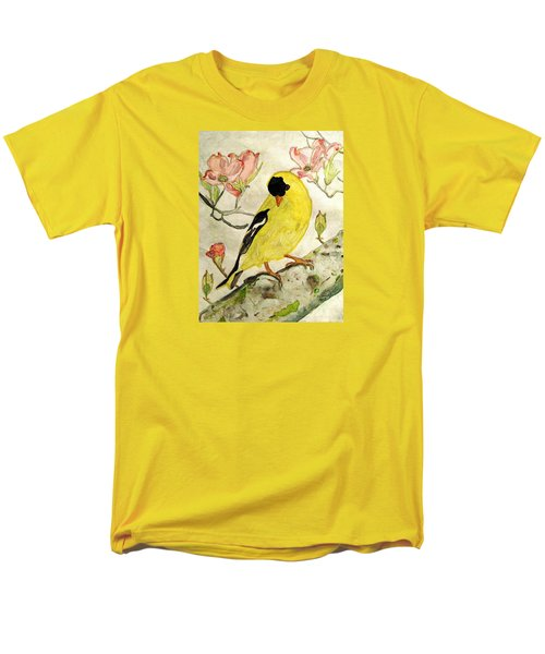 A Goldfinch Spring Men's T-Shirt  (Regular Fit) by Angela Davies