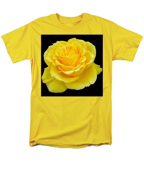 Beautiful Yellow Rose Flower On Black Background  Men's T-Shirt  (Regular Fit) by Tracey Harrington-Simpson