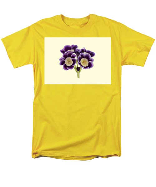 Blue Auricula On A Cream Background Men's T-Shirt  (Regular Fit) by Paul Gulliver
