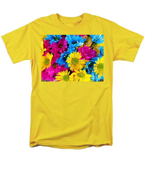 Men's T-Shirt  (Regular Fit) featuring the photograph Daisys Flowers Bloom Colorful Petals Nature by Paul Fearn