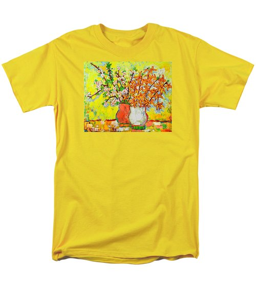 Forsythia And Cherry Blossoms Spring Flowers Men's T-Shirt  (Regular Fit) by Ana Maria Edulescu