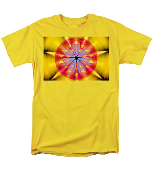 Men's T-Shirt  (Regular Fit) featuring the drawing Geo-cosmic Sri Yantra by Derek Gedney