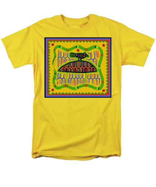 Men's T-Shirt  (Regular Fit) featuring the digital art Kuna Bird With Snake by Vagabond Folk Art - Virginia Vivier