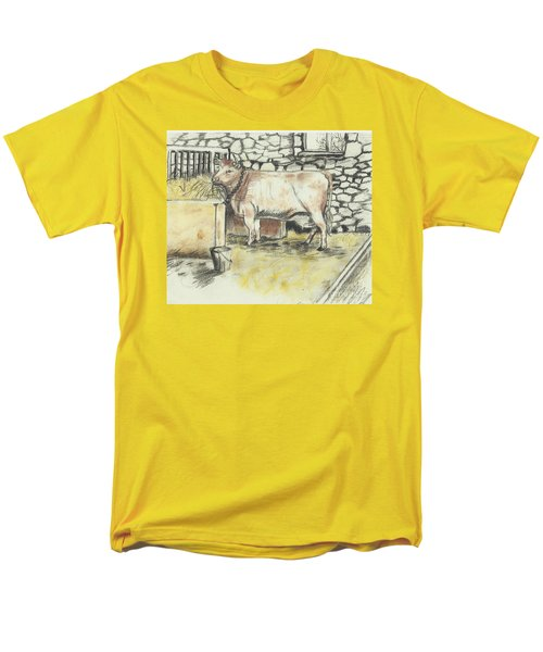 Cow In A Barn Men's T-Shirt  (Regular Fit) by Francine Heykoop