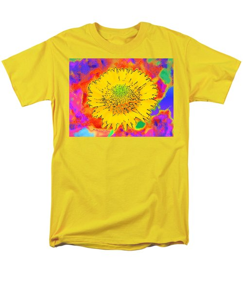 Men's T-Shirt  (Regular Fit) featuring the painting Rainbow Colored Sunshine Flower- Because I'm Happy by David Mckinney