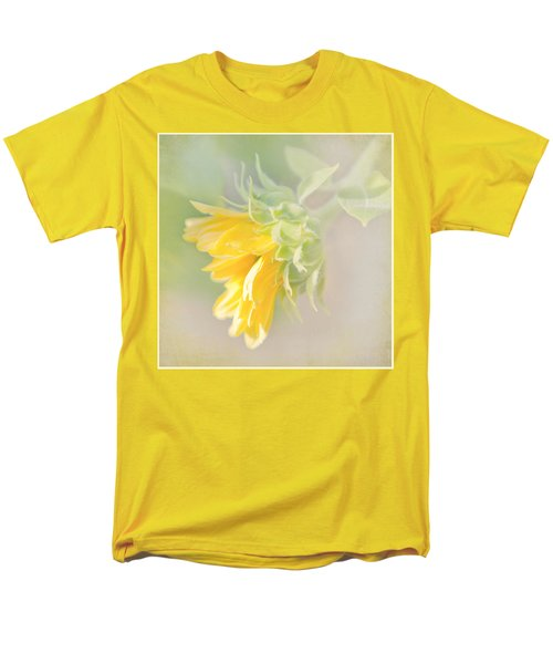 Men's T-Shirt  (Regular Fit) featuring the photograph Soft Yellow Sunflower Just Starting To Bloom by Patti Deters