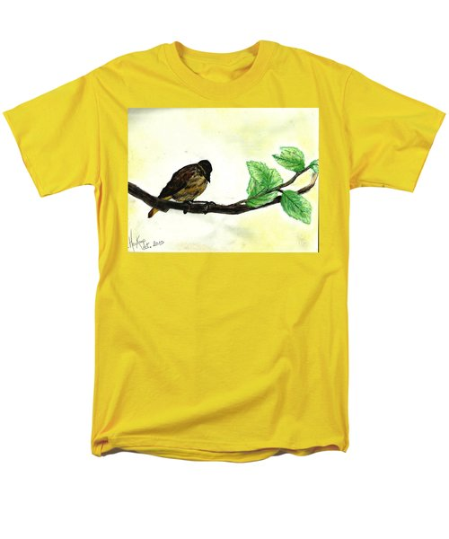 Sparrow On A Branch Men's T-Shirt  (Regular Fit) by Francine Heykoop