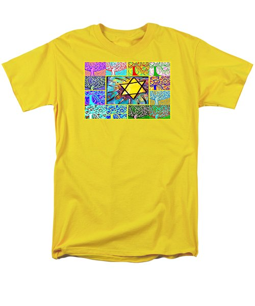 -tree Of Life Star Men's T-Shirt  (Regular Fit) by Sandra Silberzweig