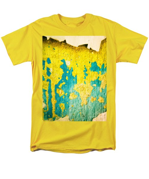 Men's T-Shirt  (Regular Fit) featuring the photograph Yellow And Green Abstract Wall by Silvia Ganora
