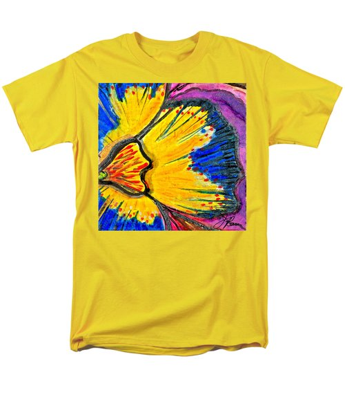 Men's T-Shirt  (Regular Fit) featuring the painting Yellow Blue Flower by Joan Reese