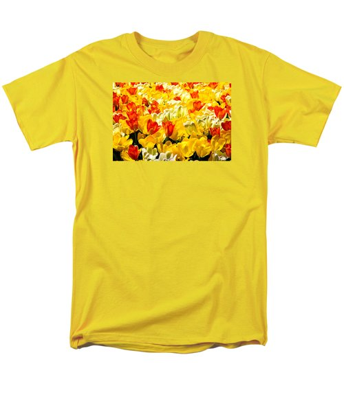 Yellow Red And White Tulips Men's T-Shirt  (Regular Fit) by Menachem Ganon
