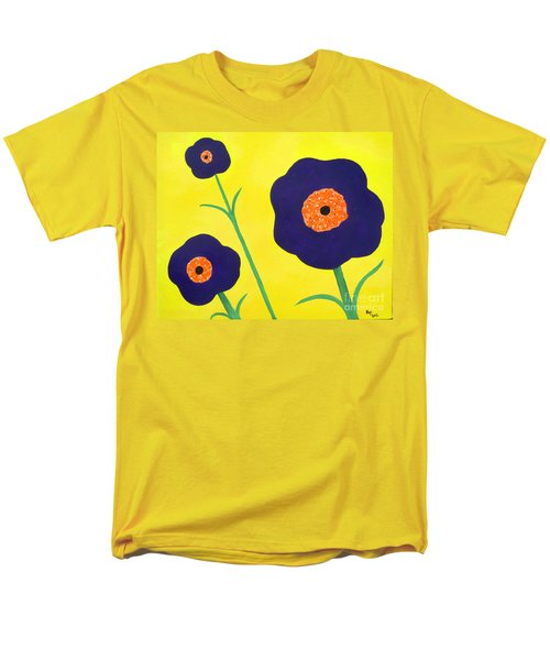 Men's T-Shirt  (Regular Fit) featuring the painting Sky High Flowers by Alys Caviness-Gober