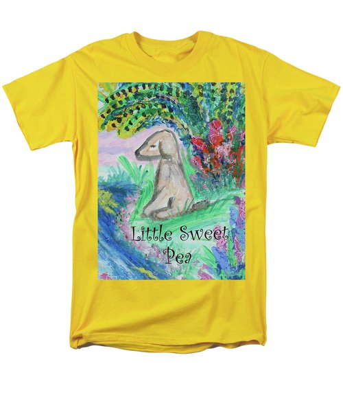 Men's T-Shirt  (Regular Fit) featuring the painting Little Sweet Pea With Title by Diane Pape