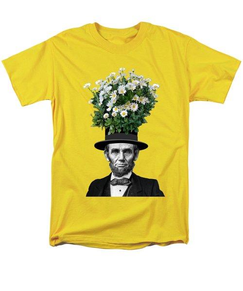 Abraham Lincoln Presidential Daisies Men's T-Shirt  (Regular Fit) by Garaga Designs