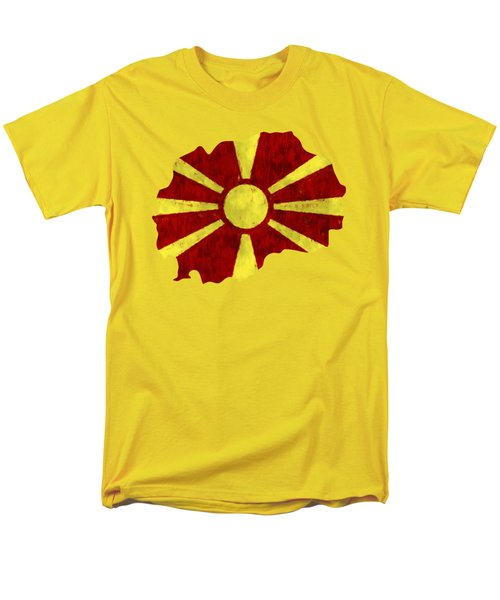 Macedonia Map Art With Flag Design Men's T-Shirt  (Regular Fit) by World Art Prints And Designs