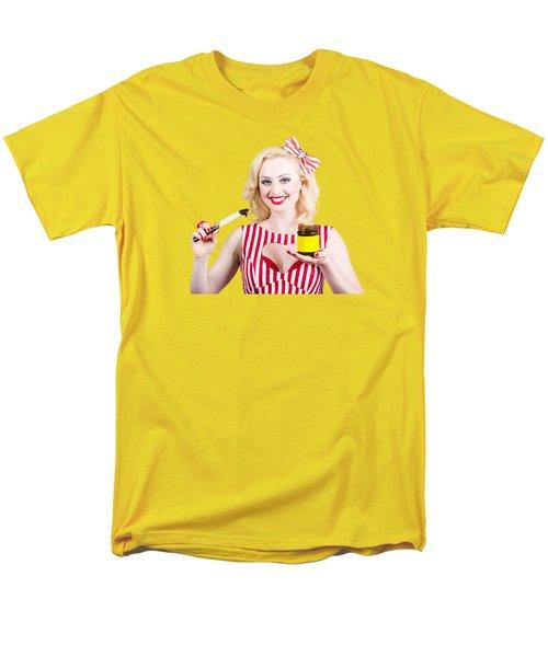 Australian Pinup Woman Holding Sandwich Spread Men's T-Shirt  (Regular Fit)