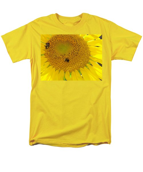 Men's T-Shirt  (Regular Fit) featuring the photograph Bees Share A Sunflower by Sandi OReilly