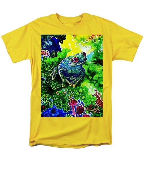 Blue  Frog Men's T-Shirt  (Regular Fit) by Hartmut Jager