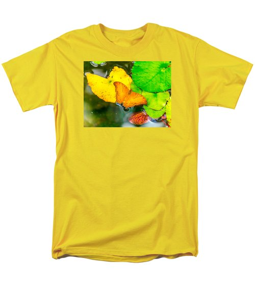 Butterfly On Lilies Men's T-Shirt  (Regular Fit) by Jerry Cahill