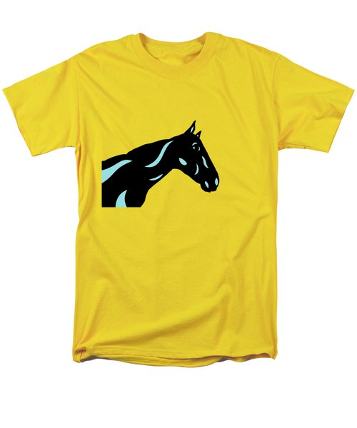 Crimson - Pop Art Horse - Black, Island Paradise Blue, Primrose Yellow Men's T-Shirt  (Regular Fit) by Manuel Sueess