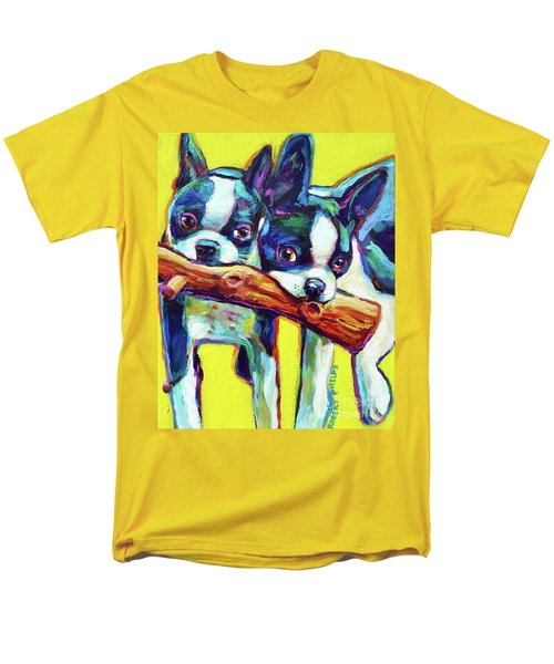 Men's T-Shirt  (Regular Fit) featuring the painting Cute Boston Terriers by Robert Phelps