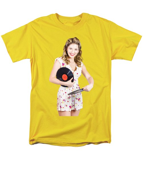Men's T-Shirt  (Regular Fit) featuring the photograph Dj Disco Pin-up Girl Rocking Out To Retro Vinyl  by Jorgo Photography - Wall Art Gallery