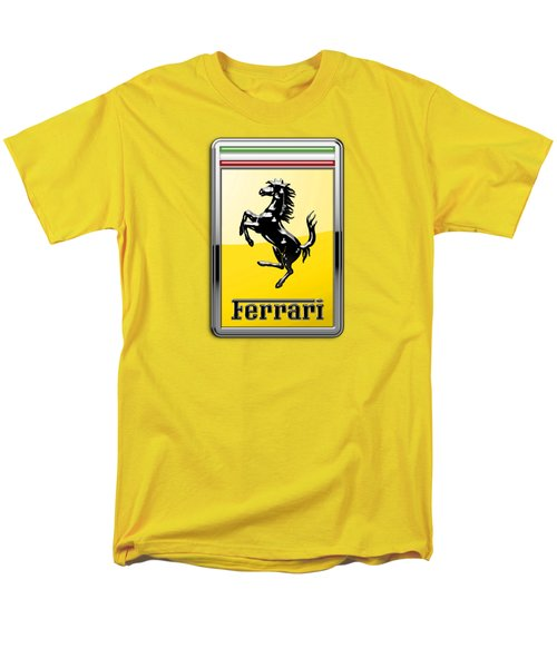 Ferrari 3d Badge- Hood Ornament On Yellow Men's T-Shirt  (Regular Fit) by Serge Averbukh