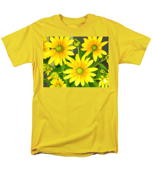 Happy Yellow Summer Cone Flowers In The Garden Men's T-Shirt  (Regular Fit) by Amy McDaniel