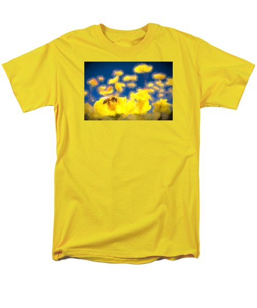 Honey Bee Mountain Daisy Impressionism Study 1 Men's T-Shirt  (Regular Fit) by Scott Campbell