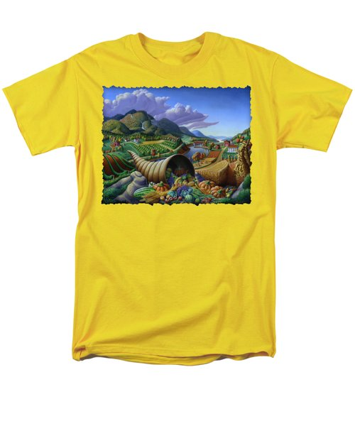 Horn Of Plenty - Cornucopia - Autumn Thanksgiving Harvest Landscape Oil Painting - Food Abundance Men's T-Shirt  (Regular Fit)