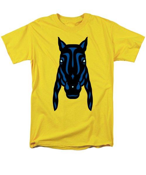 Horse Face Rick - Horse Pop Art - Primrose Yellow, Lapis Blue, Island Paradise Blue Men's T-Shirt  (Regular Fit) by Manuel Sueess