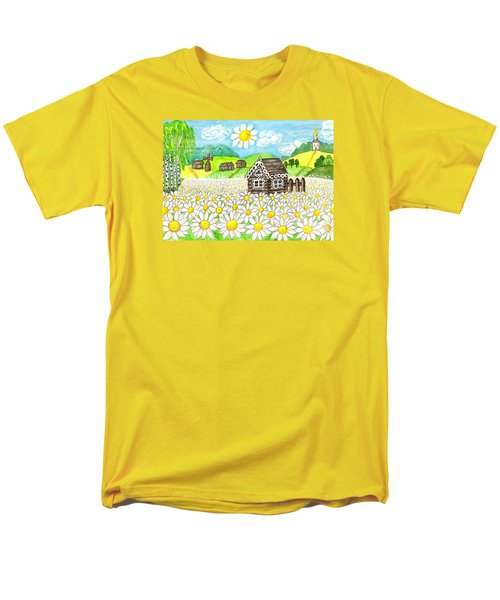 House With Camomiles, Painting Men's T-Shirt  (Regular Fit) by Irina Afonskaya