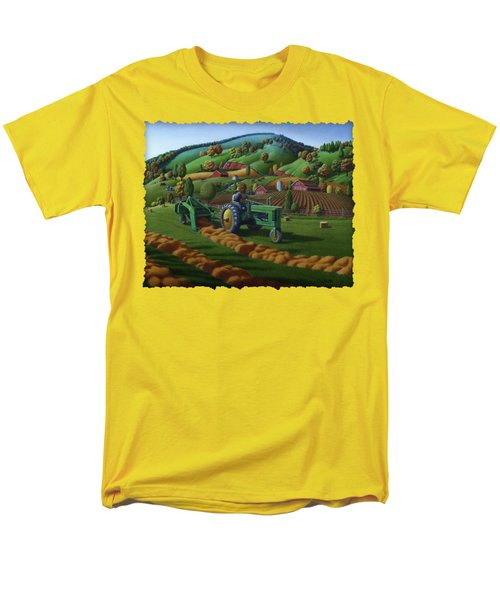 John Deere Tractor Baling Hay Farm Folk Art Landscape - Vintage - Americana Decor -  Painting Men's T-Shirt  (Regular Fit) by Walt Curlee