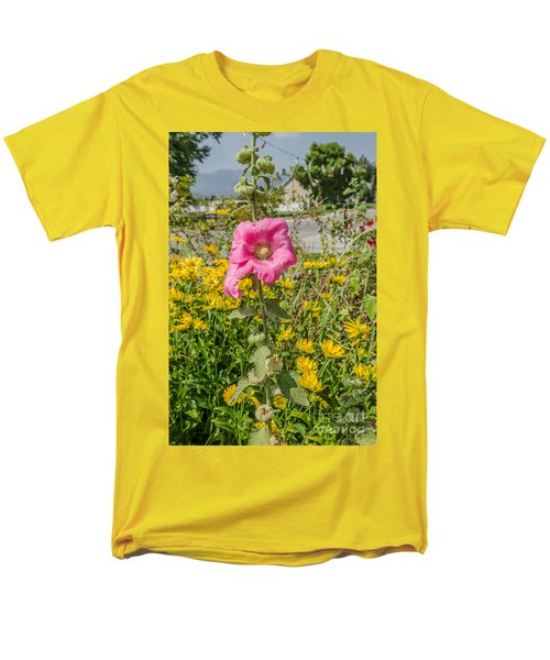 Perfect Pink Hollyhocks Men's T-Shirt  (Regular Fit) by Sue Smith