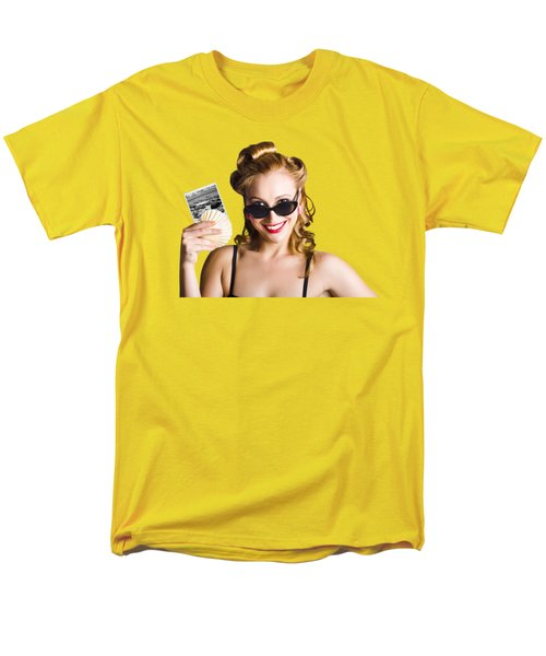 Men's T-Shirt  (Regular Fit) featuring the photograph Pinup Girl Holding Sea Shell And Photo by Jorgo Photography - Wall Art Gallery