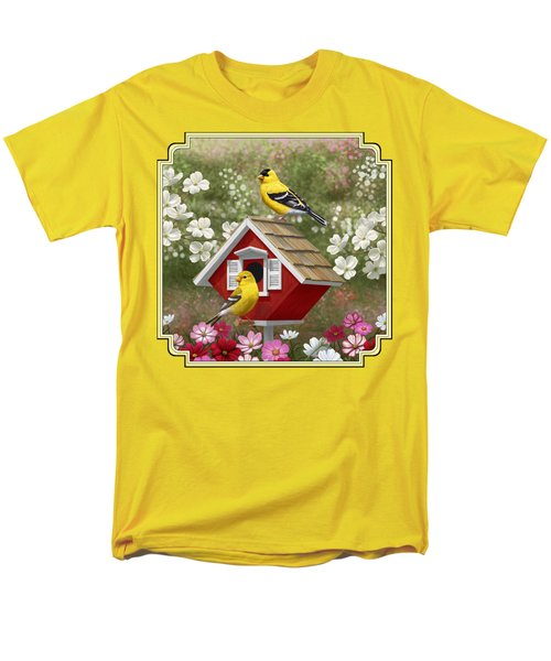 Red Birdhouse And Goldfinches Men's T-Shirt  (Regular Fit) by Crista Forest