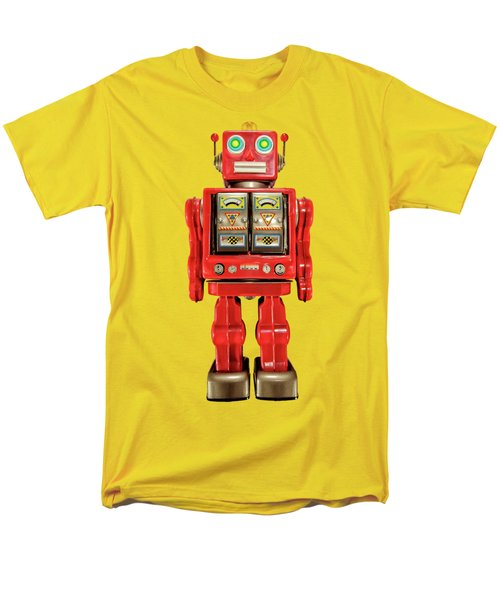 Men's T-Shirt  (Regular Fit) featuring the photograph Red Tin Toy Robot Pattern by YoPedro