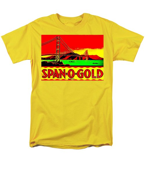 Men's T-Shirt  (Regular Fit) featuring the painting Span O Gold Golden Gate Bridge by Peter Gumaer Ogden