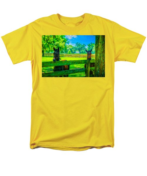 Men's T-Shirt  (Regular Fit) featuring the painting Spring Colts by Louis Ferreira